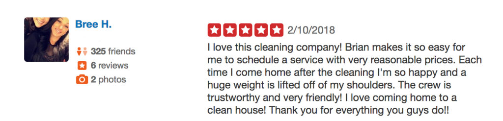 Tidy Nest Cleaning 5 star Yelp Review