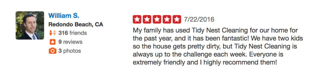 Tidy Nest Cleaning testimonial by Bill S.